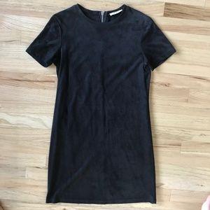 Zara Black Suede Dress LBD Short Sleeve Zip Small